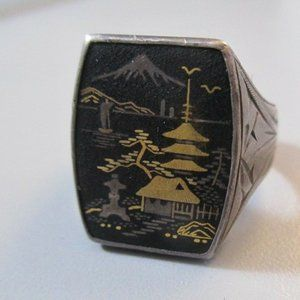 VTG ring Japan Silver Old piece from estate 9.5